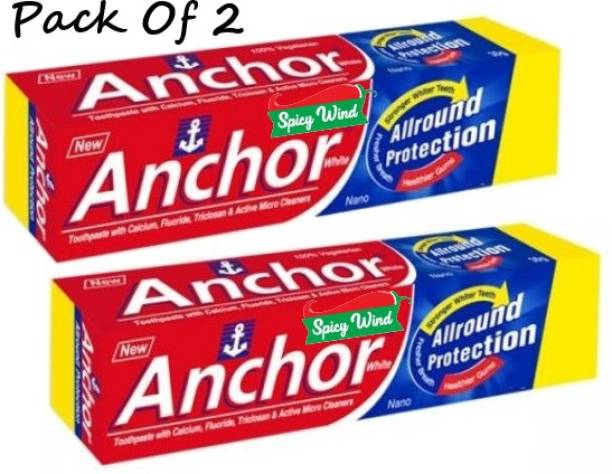 spicy wind ANCHOR ALL ROUND PROTACTION TOOTHPASTE WITH TOOTH BRUSH 200 GM PACK OF 2 Toothpaste