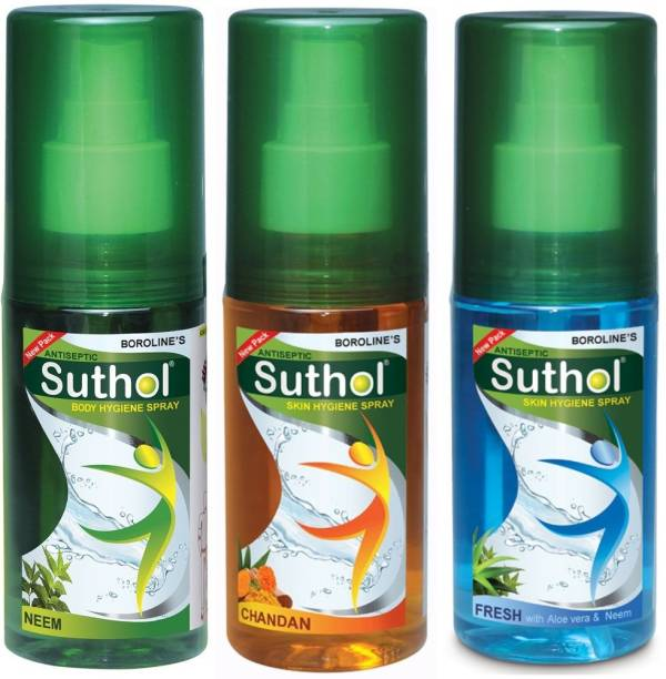 BOROLINE Suthol Neem Spray, Chandan Spray, Fresh Spray 100ml each, Combo pack of 3 (300ml) Antiseptic Spray