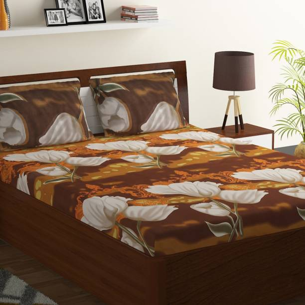 Bombay Dyeing 104 TC Polyester Double Floral Bedsheet