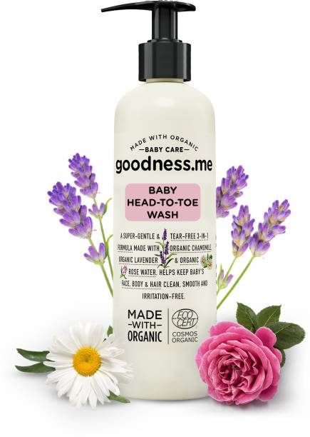 goodnessme Certified Organic Baby Head-to-Toe   Face, Body Wash & Shampoo   Tear Free, 200ml, Paediatrician & ECOCERT France Certified, Hypoallergenic