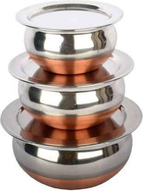 EasyBuyStore BB1 Perfect Copper Handi Set for Everyday Use Whether you want to cook a delicious serving of your favourite sabzi or heat leftover curries from the previous day, the 3 Piecs copper handi set, Prabhu Chetty, Curved Copper Plate at Bottom, Best Quality Stainless Steel Copper Bottom Handi Pot Set, Brown & Steel, 3 Pic Handi Copper Vegetable Bowl ,Cooking Dinner Table Serving Biryani Pot Handi Kadhai , Panikarilikka Steel Handi 3 Pices Sets Handi Stainless Steel, Copper Decorative Bowl