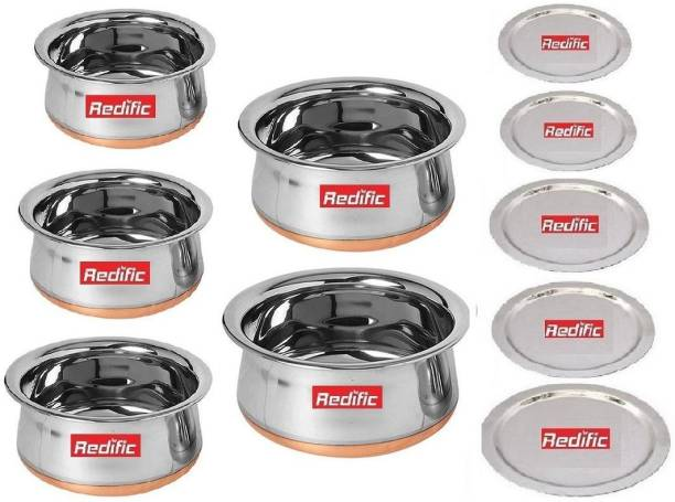Redific Pack of 10 Stainless Steel 5Pcs Stainless Steel Dinner Set Handi Kitchenware New Fancy Venachetty Stainless Steel Handi Sets copper Handi Copper Bottom handi with lid Pots Pans 5 Piece Steel Handi Set Cookware Sets (5handi+5lid 10pcs set) Stainless steel Cook and serve 10 piece Gift set Combo Set Biryani Pots (Stainless Steel, Copper, 5 Piece Handi,5 Pcs Lid, Non Stick, Without Induction Bottom)(Size: Handi 1.600 L, 1.250 L, 0.850 L, 0.650 L, 0.400 L)(Venna Chetty) Dinner Set