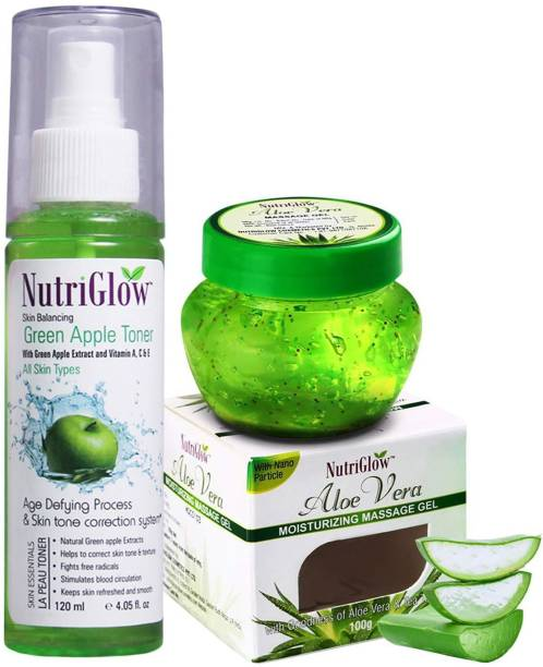 NutriGlow Green Apple Toner/Skin Care Skin Whitening Fairness/Anti-Ageing/Anti-Acne Treatment - Aloe Vera Gel - Face Solution