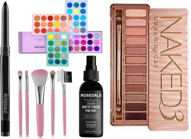 Crynn Smudge Proof Waterproof Long Lasting Rosedale Kajal & Beauty Glazed Color Board 60 Shades Eyeshadow Palette & Professional Set of 5 Makeup Brush & The Matte Fixer Face Spray & Professional Naked Eyeshadow Palette