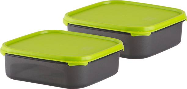 POLYSET Magic Seal Square Container 1200ML Black Bottom Green Lid,  - 1200 ml Plastic Utility Container