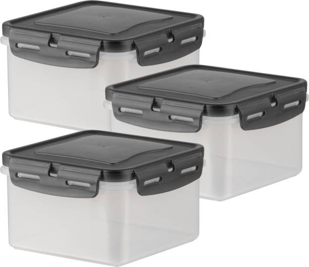 POLYSET Super Locked Square Container 1340ML Black Lid - White Bottom ,  - 1340 ml Plastic Utility Container