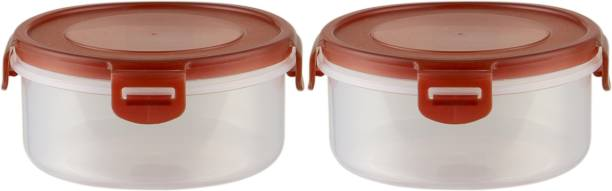 POLYSET Super Locked Round Container 570ML Brown Lid - White Bottom ,  - 570 ml Plastic Utility Container