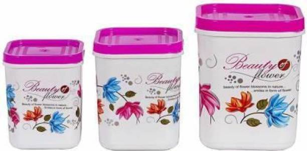 Denish store - 2 L, 3 L, 5 L Plastic Grocery Container (Pack of 3) Lid Pink  - 2 L, 3 L, 5 L Plastic Grocery Container