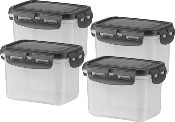 POLYSET Super Locked Rectangle Container 600ML Black Lid - White Bottom ,  - 600 ml Plastic Utility Container