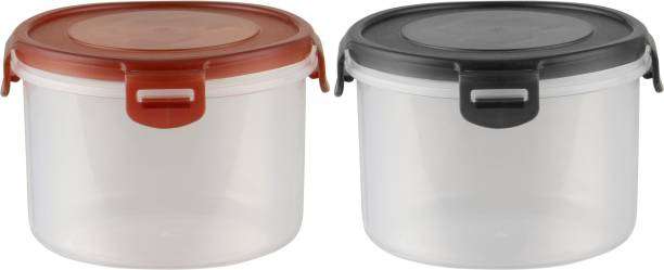 POLYSET Super Locked Round Container 890ML 1 Black Lid & 1 Brown Lid - White Bottom ,  - 890 ml Plastic Utility Container