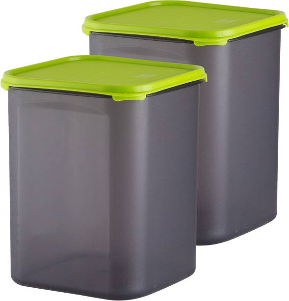 POLYSET Magic Seal Square Container 5500ML Black Bottom Green Lid,  - 5500 ml Plastic Utility Container