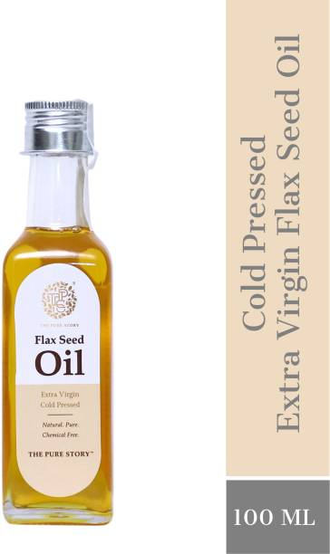 The Pure Story 100% Pure Cold Pressed Flaxseed Oil Glass Bottle