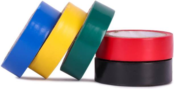 Oxcord PVC Tape Electrical Self Adhesive Insulation PVC Tape (0.125X17), 7 MTR - Pack of 5 (Assorted Colors)