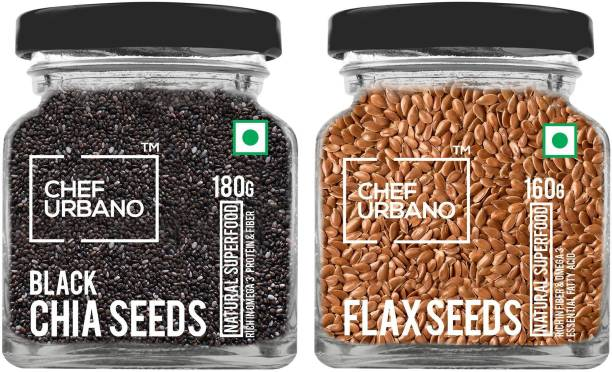 Chef Urbano Combo of Chia Seeds 180g and Flax Seeds 160g Combo