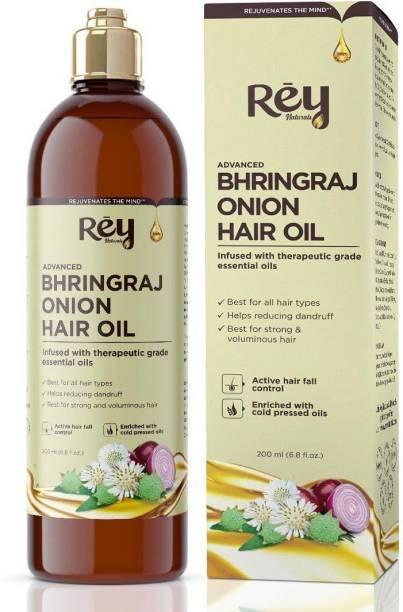 Rey Naturals Bhringraj/Bhringa oil with Onion extract For Hair Strengthening, Anti-hair Fall, Split-ends - 200 ml Hair Oil
