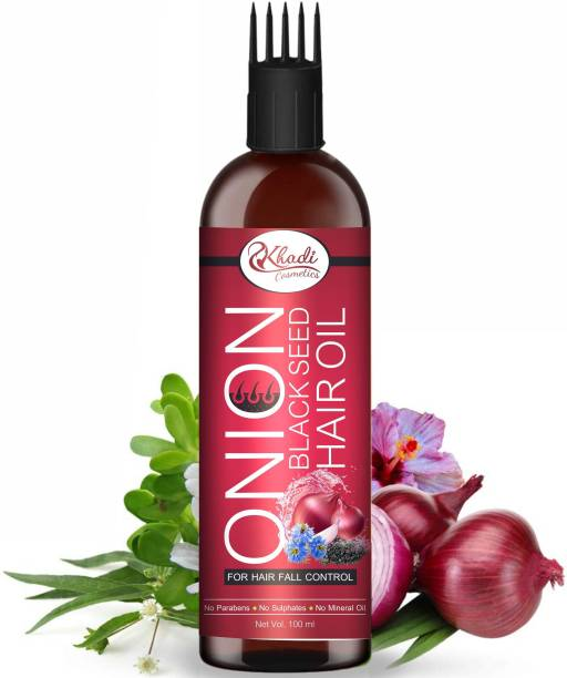 Khadi Cosmetics Onion Black Seed Hair Oil - WITH COMB APPLICATOR - Controls Hair Fall - NO Mineral Oil, Silicones, Cooking Oil & Synthetic Fragrance Hair Oil