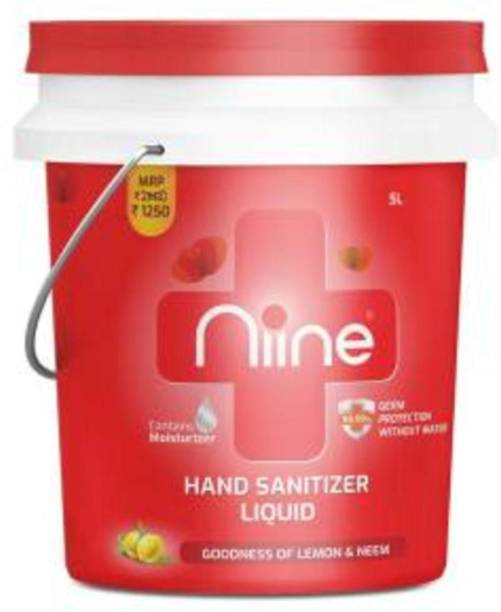 niine  Liquid in Re-usable bucket with Goodness of Lemon and Neem, 70% Alcohol Hand Sanitizer Can