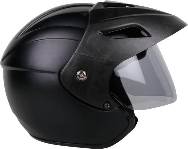Gati1 Open Face Matt Black Motorbike Helmet