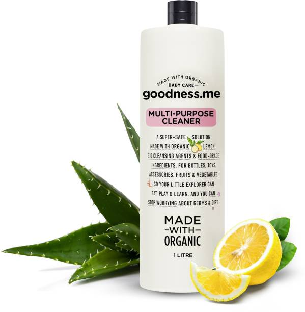 goodnessme Made with Organic Multi-purpose Baby Cleaner, Food Grade Ingredients, 1000ml | Bottles, Toys, Veggies | Certified Protection Against Germs