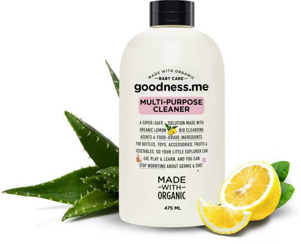 goodnessme Made with Organic Multi-purpose Baby Cleaner, Food Grade Ingredients, 475ml | Bottles, Toys, Veggies | Certified Protection Against Germs