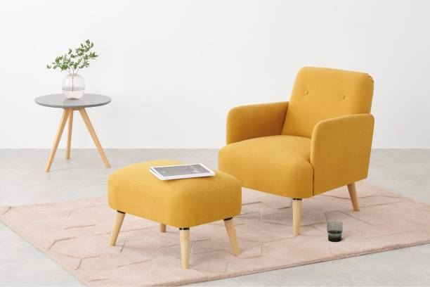 The Royal Nest Comfortable Elvi Chair With Tufted Stool Solid Wood Living Room Chair