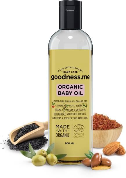 goodnessme Certified Organic Baby Massage & Hair Oil | Super Blend of 6 Organic Oils, 200ml, Paediatrician & ECOCERT France Certified, Hypoallergenic