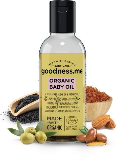 goodnessme Certified Organic Baby Massage & Hair Oil | Super Blend of 6 Organic Oils, 100ml, Paediatrician & ECOCERT France Certified, Hypoallergenic