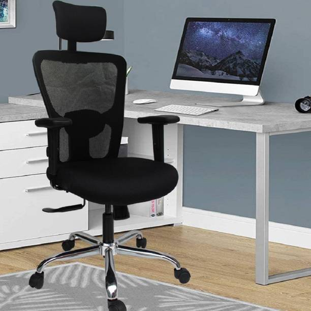 DUREJA INTERNATIONAL Jazz (HB) Back Lock At Any Position Mechanism , Adjustable Armrest with Soft Pu Pad Nylon Office Adjustable Arm Chair