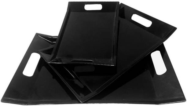 UPC Fine Melamine Serving Tray, Set of 3 Villori Series (Black | Small, Medium and Large Size) Tray (3 Tray) Tray