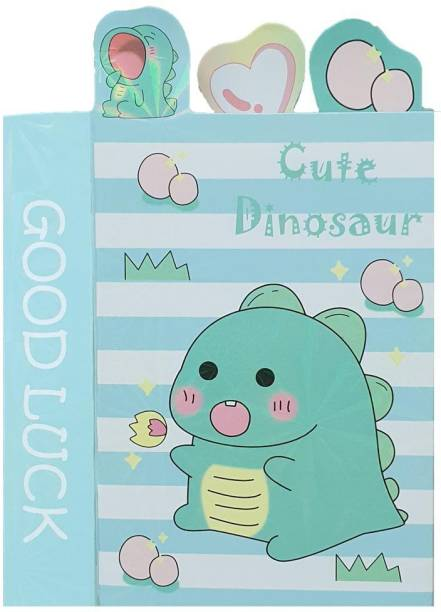 Rack Jack Dinosaur Folding Sticky Notes Book with Page Markers 20 Sheets Regular, 7 Colors