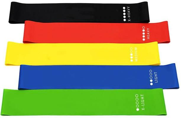 Manogyam 24-inch, Set of 5 Bands for Physical Therapy, Stretching, Home Fitness, Yoga Resistance Tube