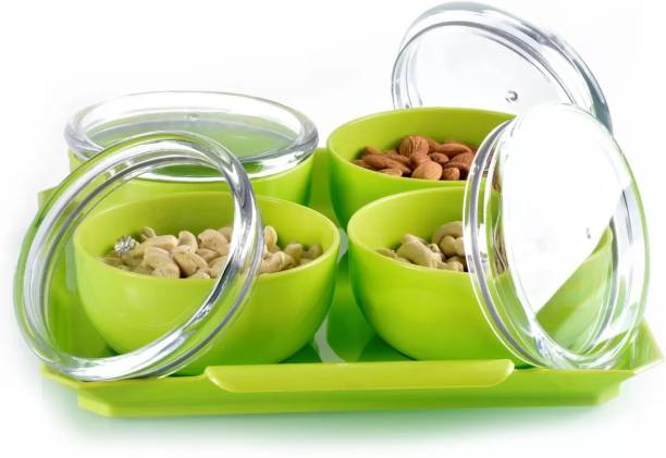 Solomon ™ Premium Quality Multipurpose Set for Decorative Serving / Candy / Fruit / Chocolate / Snacks / Dessert / Dryfruits / Aachar / Pickle / Cookie / Mouth Freshner / Tea / Coffee / Suger / Condiment Set / Salad / Box / Airtight / Kitchen / Lid / Containers / Sets / Bowls / Bowl, Tray Serving Set (Green) Bowl, Tray Serving Set