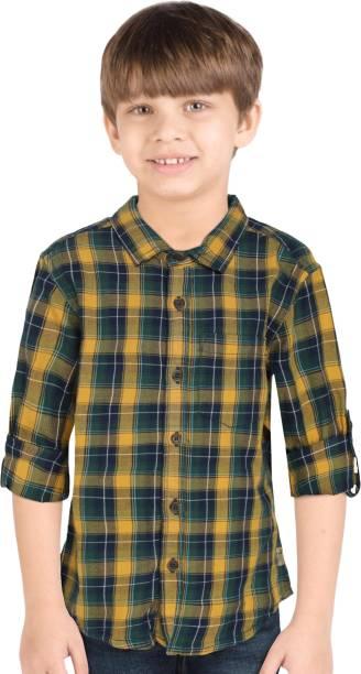FM KIDS Boys Checkered Casual Yellow Shirt