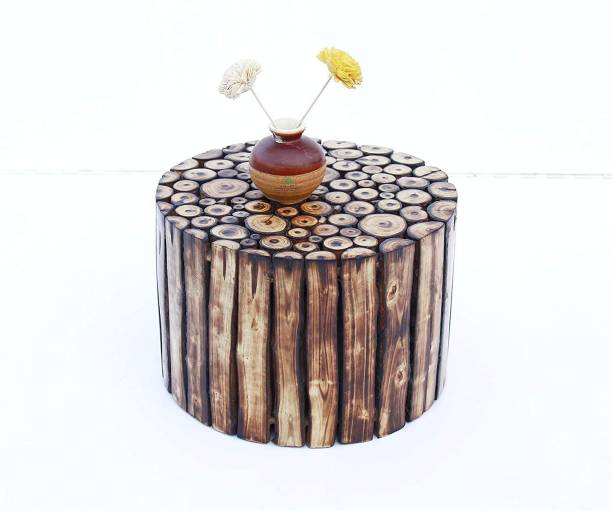 Smarts collection Pre-Assemble Wooden Handcrafted Round Shape Stool/Table Natural Wood Logs Smooth Finish (8x12x12-inch, Brown) Bamboo Side Table