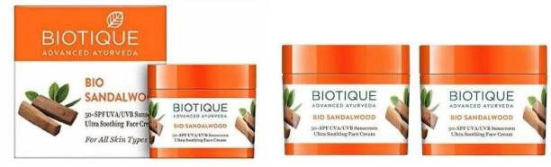 BIOTIQUE Bio Sandalwood SPF50+Sunscreen Ultra Soothing Face Cream (Pack of 3) - SPF 50 PA+