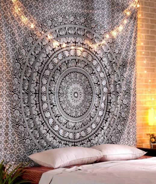 Heyrumbh Handicrafts Elephant Mandala Hippie Mandala Wall Decoration Bedspread Bedcover Room Dorm Tapestry