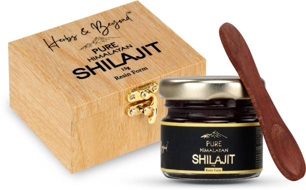 Herbs & Beyond Pure Himalayan Shilajit ( Shilajeet) Resin with Sheesham Spoon-15 gm