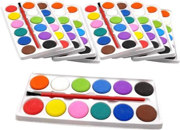 ARVANA Return gifts for kids in bulk water color pallet with artist paint brush for children painting drawing and sketching best birthday party gift for girls / boys - pack of 12