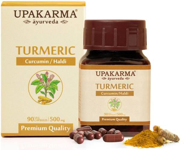 UPAKARMA Ayurveda Pure Herbs Turmeric | Curcumin | Haldi Extract Capsules to Boost Immunity and Strength, 500 mg 90 Veggie Capsules - Pack of 1
