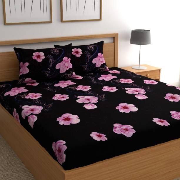 CHHAVI INDIA 140 TC Microfiber Double Floral Bedsheet