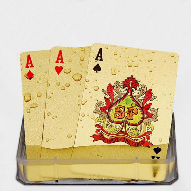 Bastex Fancy 24K Gold Plated Poker Playing Cards 3 Patti Table Games,Golden Foil Casino Grade Deck of Playing Cards : 100 Dollar Design/Best Gold Plated Card 100 Dollar -Gold 24K Gold Plated Standard Sized Playing Cards/Poker Playing Card American Dollar