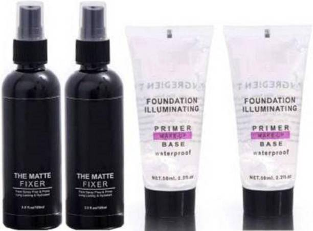 AVEU Beauty combo matte fixer and primer Primer - 300 ml (Transparent, Black) Primer - 300 ml