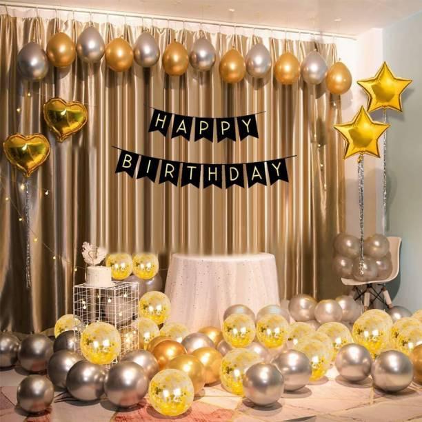 CherishX.com Golden & Silver Birthday Balloons for Decoration - Pack Of 53 Pcs - Happy Birthday Banner, Star, Heart Shape, Confetti & Metallic balloons - 1st, 10th, 18th, 21st, 25th, 30th, 40th