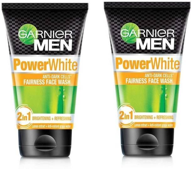 GARNIER men power white anti dark cells fairness face wash (2*100g) Face Wash