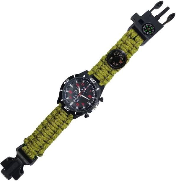 TrustShip Paracord/Whistle/Fire Starter/Scraper/Compass Survival Watch Bracelet For Men Flintsteel & Magnesium Fire Starter Striker Included