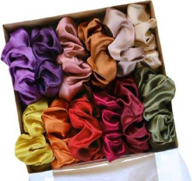 S K Bright Silk Satin Hair Bands Scrunchies Ties Elastic Pack of 12 for Women and Girls Rubber Band Rubber Band