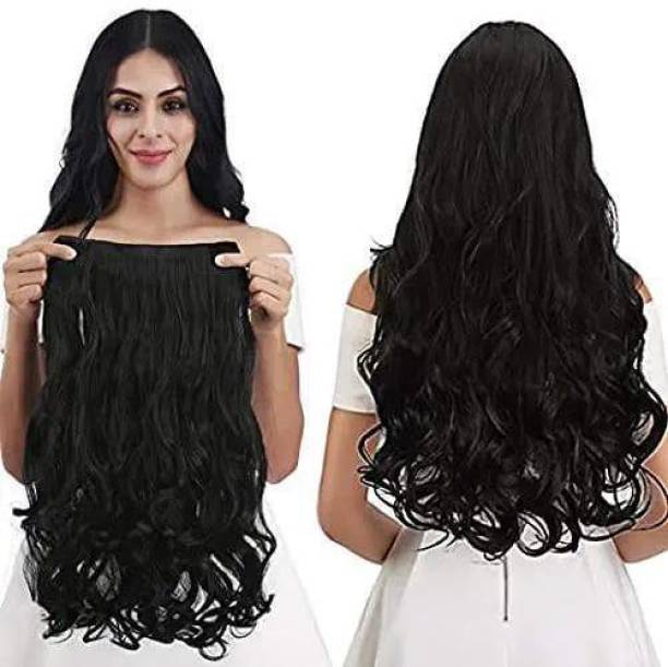 LAMANSH Women's Clip Based Curly / Wavy Black Synthetic  Extension / Natural Black Curly  Extensions Hair Extension