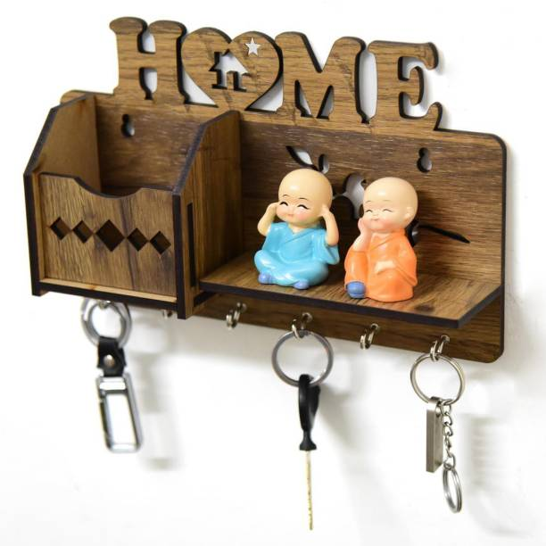 Royalbox Stylish Key holder For Wall With Mobile Pocket Wood Key Holder