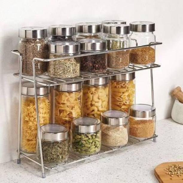 FRDE Stainless Steel Spice 2-Tier Trolley Container Organizer Organiser/Basket for Boxes Utensils Dishes Plates for Home (Multipurpose Kitchen Storage Shelf Shelves Holder Stand Rack) Containers Kitchen Rack