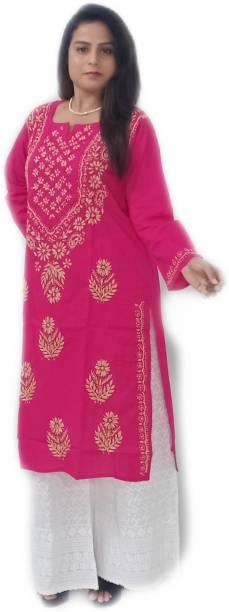TEHZEEB HANDICRAFT Women Embroidered Straight Kurta